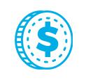moeda azul icone