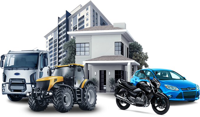 casa branca moto preta carro azul caminhao branco predio branco