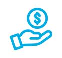 mao moeda azul icone