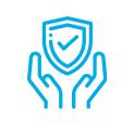 mao escudo azul icone