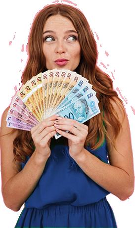 mulher cabelo castanho roupa azul segurando dinheiro